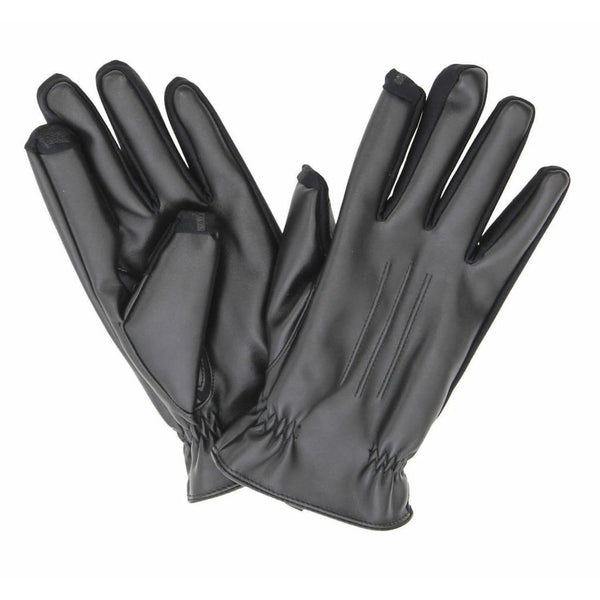 Mens Isotoner Smartouch Faux Leather Gloves 725M1 Black Medium Or Large - Seasonal Overstock