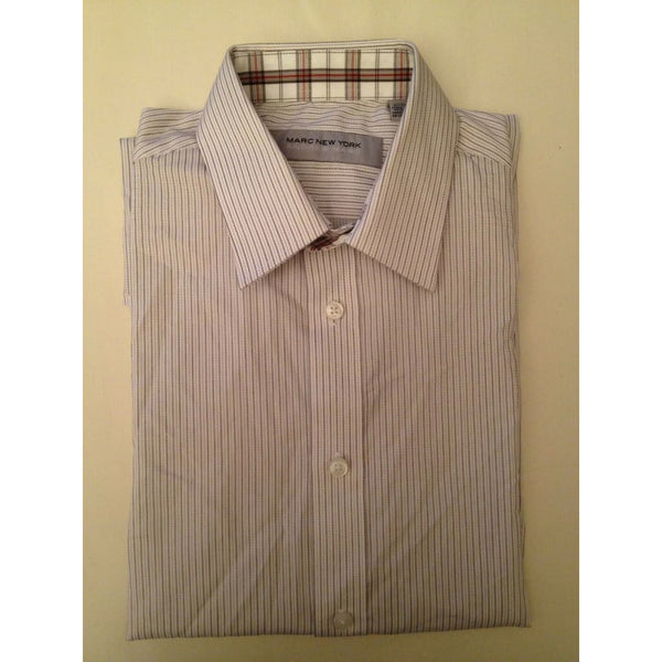 Mens Marc New York Dress Shirt MNS12F4814 Burnt Orange Stripe 14.5 32/33 - Seasonal Overstock