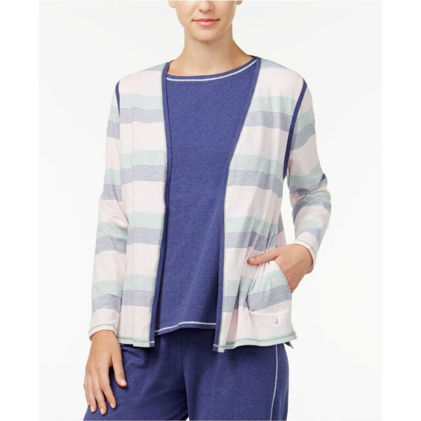 Nautica Brushed Jersey Pajama Cardigan 2001402 Multi-Color Medium - Red Tag Central