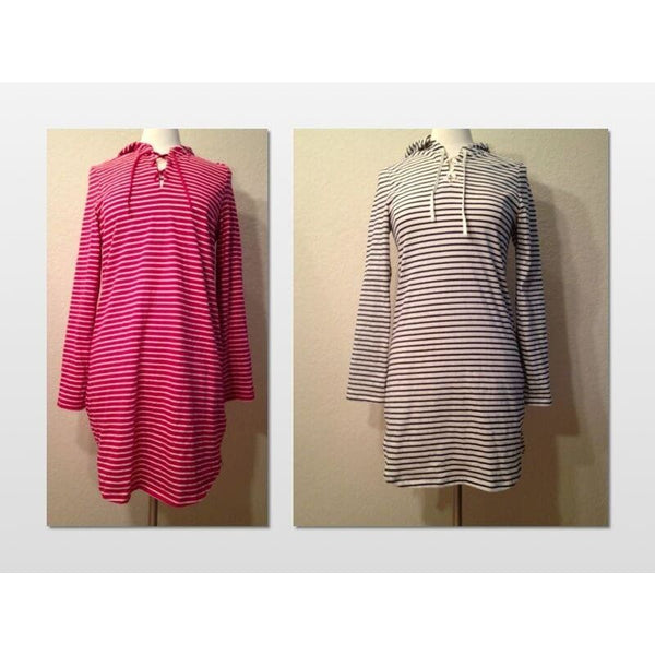 Nautica Striped Hooded Nightshirt Pajama Sleepshirt 241375 S M L XL - Seasonal Overstock
