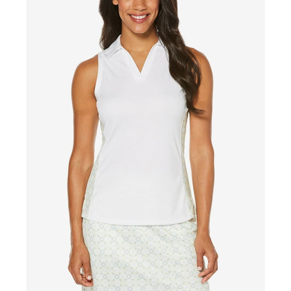 PGA TOUR Womens Printed Sleeveless Golf Top PVKS8026 Bright White Small Large - L - Active Wear