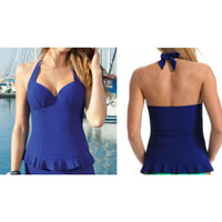 Profile by Gottex Starlet Padded D Cup Halter Tankini Swim Top E402-1D10 32D Blu - Red Tag Central