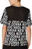 DKNY Women's Ringer Pajama T-Shirt Y2419415 Black Print Medium