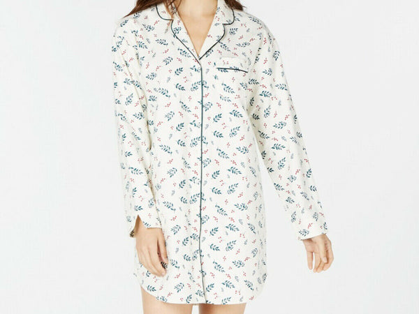 Charter Club Cotton Flannel Sleep Shirt 100069415 Holiday Leaf Large