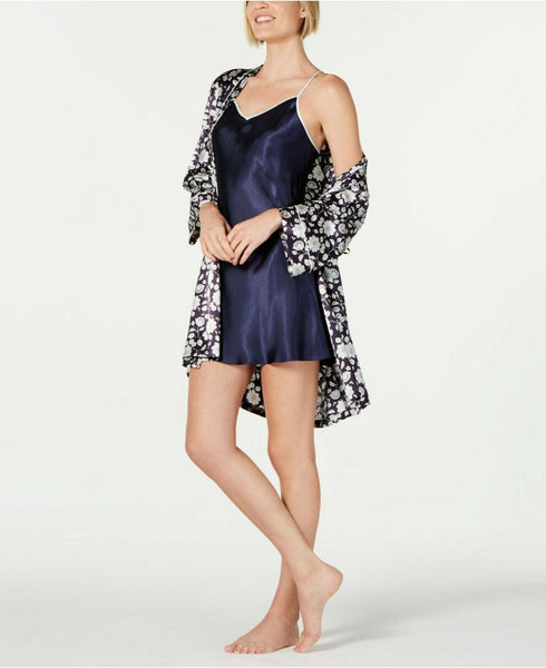 Linea Donatella Contrast-Trim Printed Wrap Robe MOY190 Navy Medium