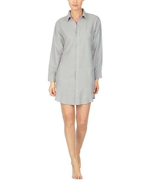 Lauren Ralph Lauren Brushed-Herringbone Sleepshirt Nightgown LN31738 Gray Small