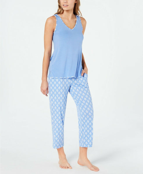 Charter Club Plus Size Knit Tank & Cropped Pants Pajama Set 100052552 Blue 1X