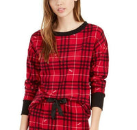 Betsey Johnson Printed Waffle Fleece Pajama Top ZBE97345T Red Plaid Small