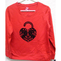 Style & co Petite Embellished-Heart Sweatshirt 6934 Red White PS PM PL - Red Tag Central