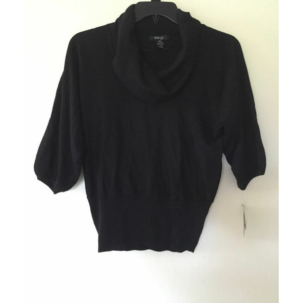 Style & co Petite Three Quarter Sleeves Cowl Neck Sweater 34297 Black PS - Seasonal Overstock