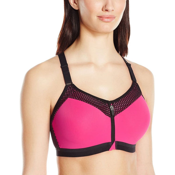 Wacoal Zip Front Underwire Sports Bra 853222 Pink 30DD Castlerock 32C - Red Tag Central