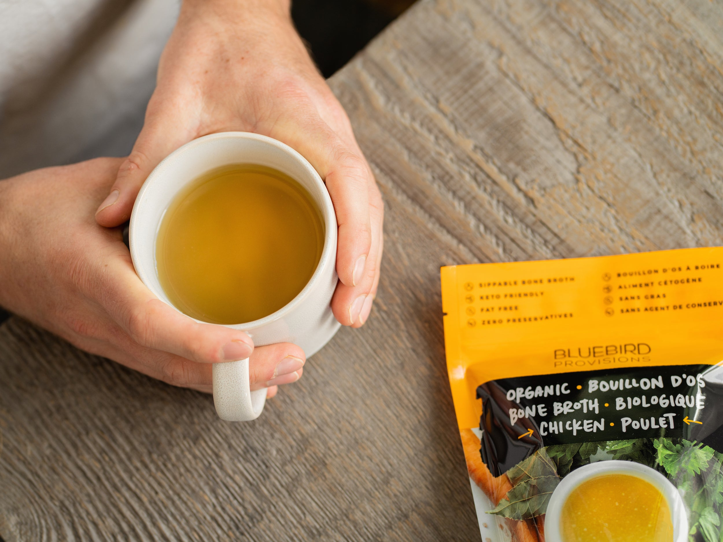 Organic chicken broth rebrand Bluebird Provisions