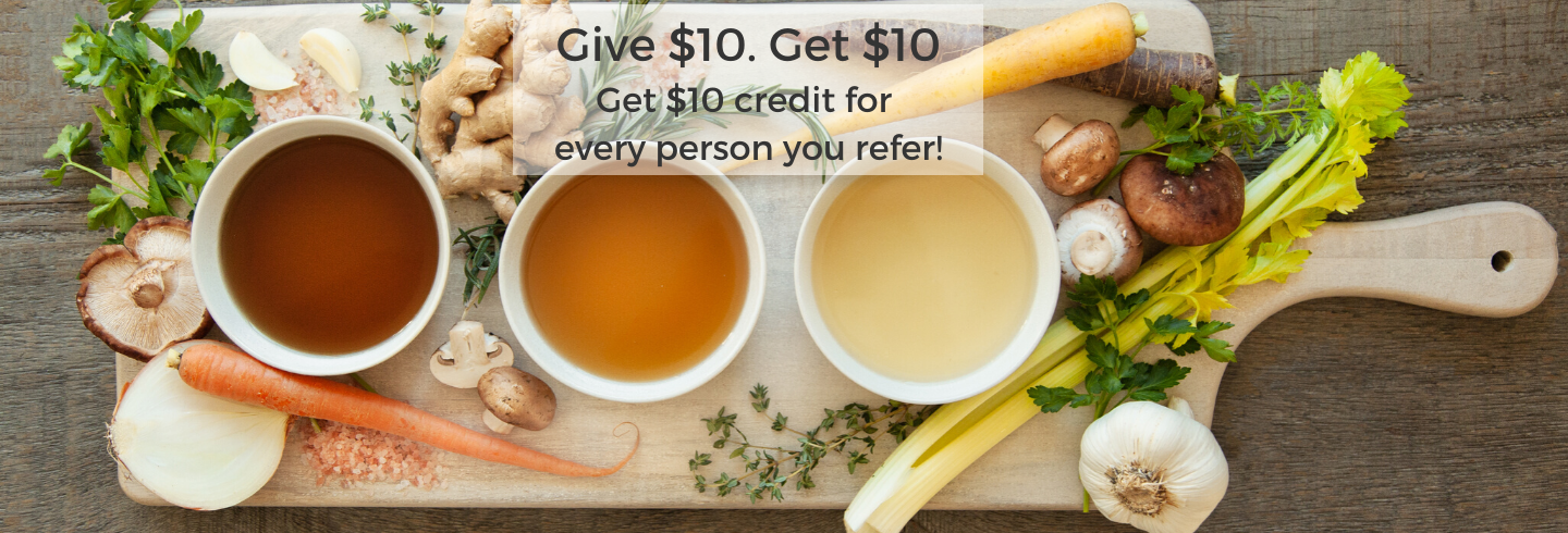 refer a friend for $10 off organic bone broth from bluebird provisions