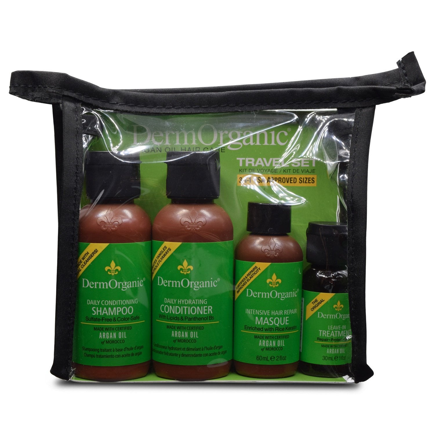 DERMORGANIC ~ Argan Oil Hair Care Travel Set ~ 9 fl oz