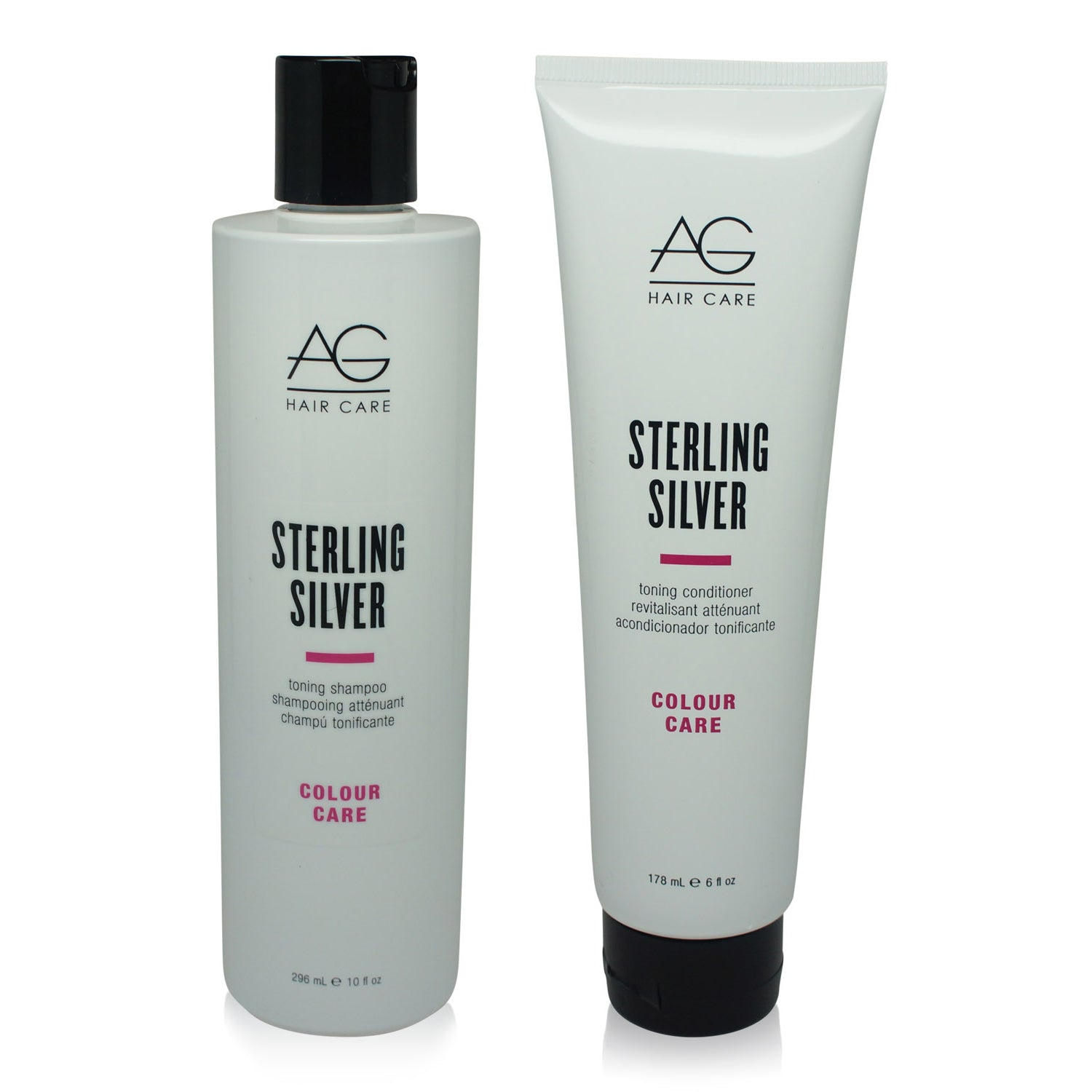 AGHAIR ~ STERLING SILVER TONING SHAMPOO 10 OZ & CONDITIONER 6 OZ  ~ COMBO PACK