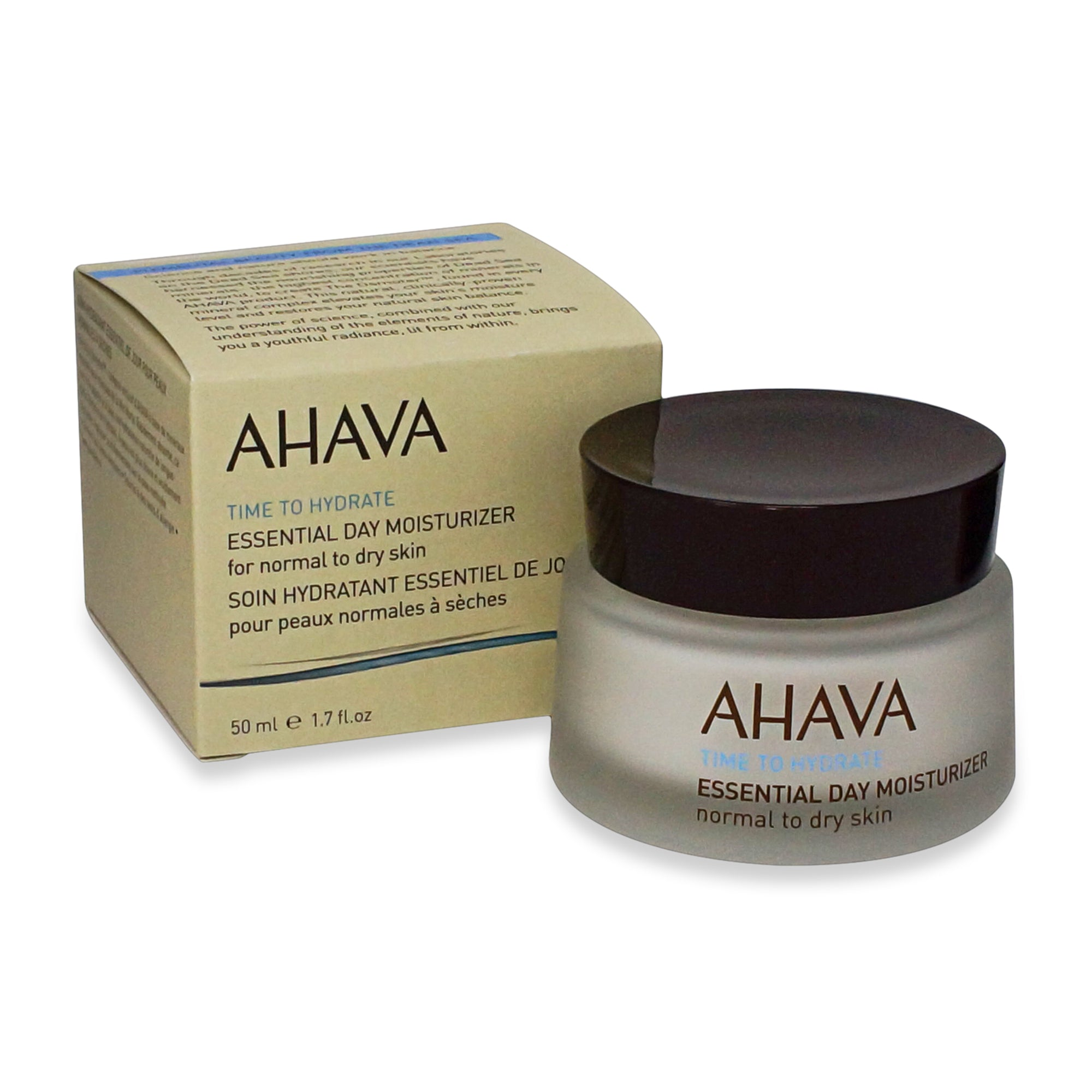 AHAVA ~ TIME TO HYDRATE ~ ESSENTIAL DAY MOISTURIZER FOR NORMAL TO DRY SKIN ~ 50ML