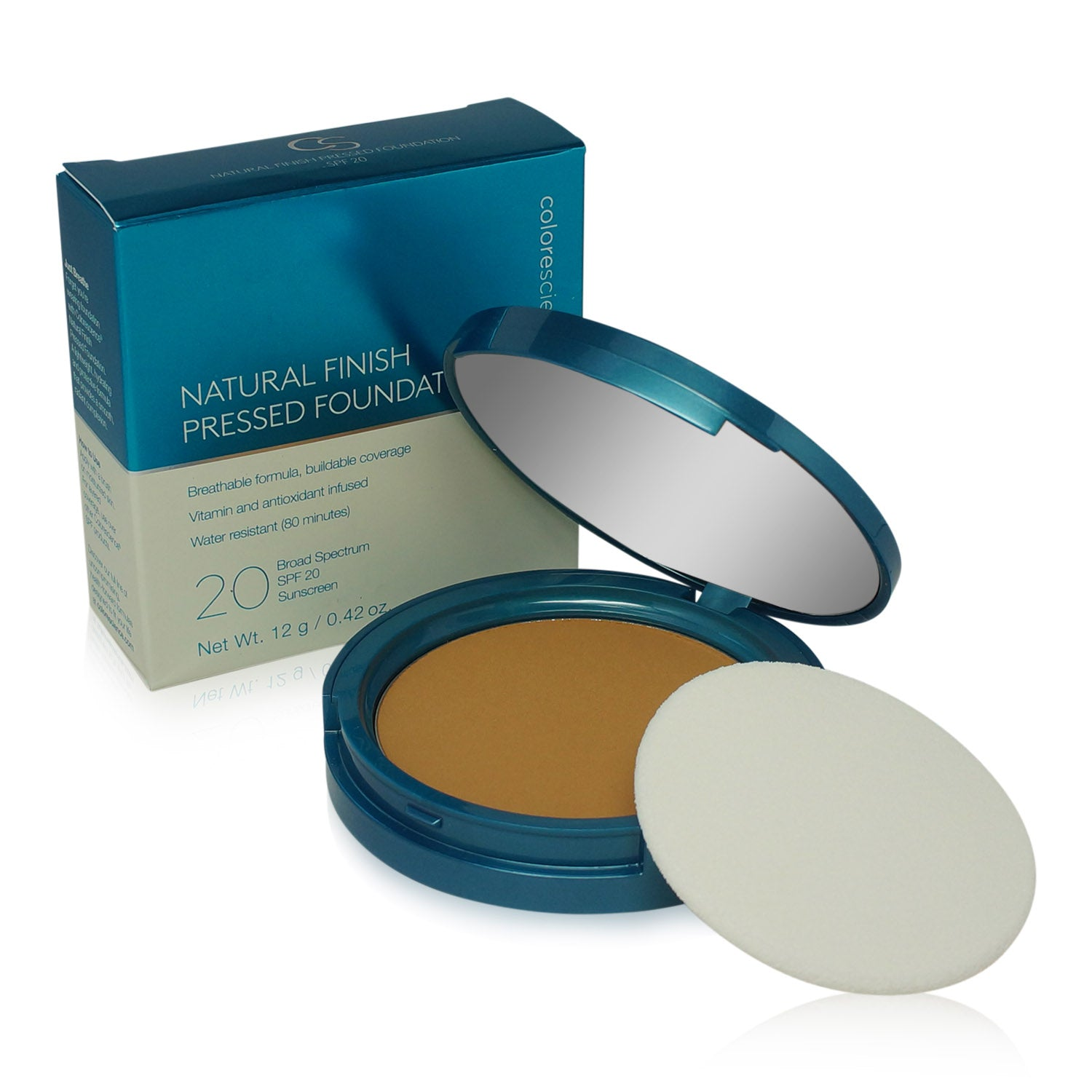 COLORESCIENCE ~ NATURAL FINISH PRESSED FOUNDATION SPF 20 ~ TAN GOLDEN (TASTE OF HONEY)