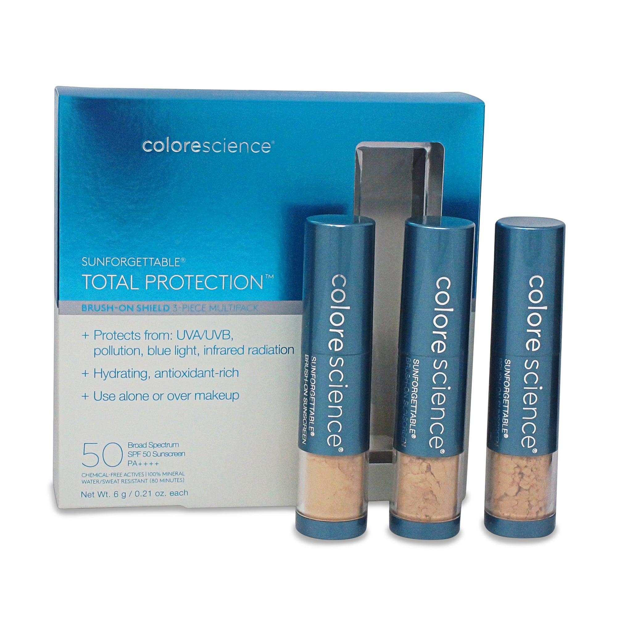 COLORESCIENCE ~ SUNFORGETTABLE ~ TOTAL PROTECTION BRUSH-ON SHIELD SPF 50 ~ MEDIUM 3 PCS SET   **NEW**