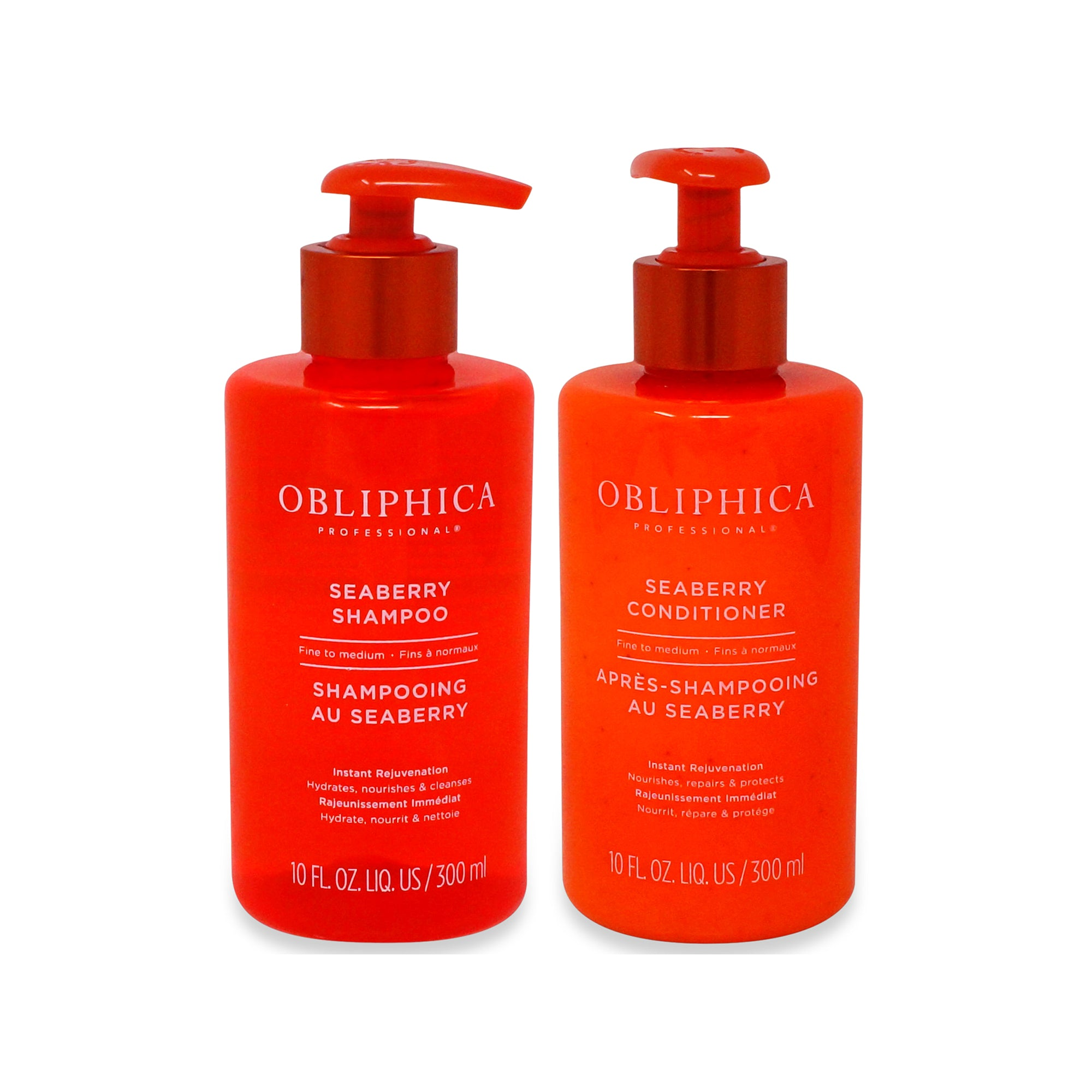 OBLIPHICA ~ SEARBERRY SHAMPOO 10OZ AND CONDITOINER 10 OZ ~ FINE/MED COMBO PACK
