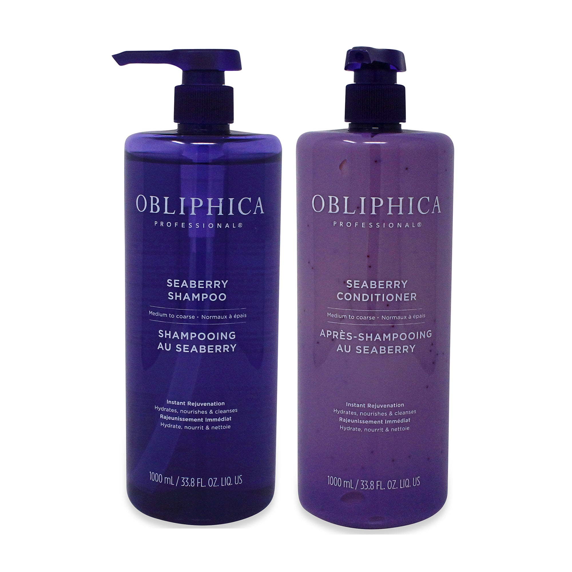 OBLIPHICA ~ SEARBERRY SHAMPOO 33.8 OZ AND CONDITOINER 33.8 OZ ~ MED/COARSE COMBO PACK