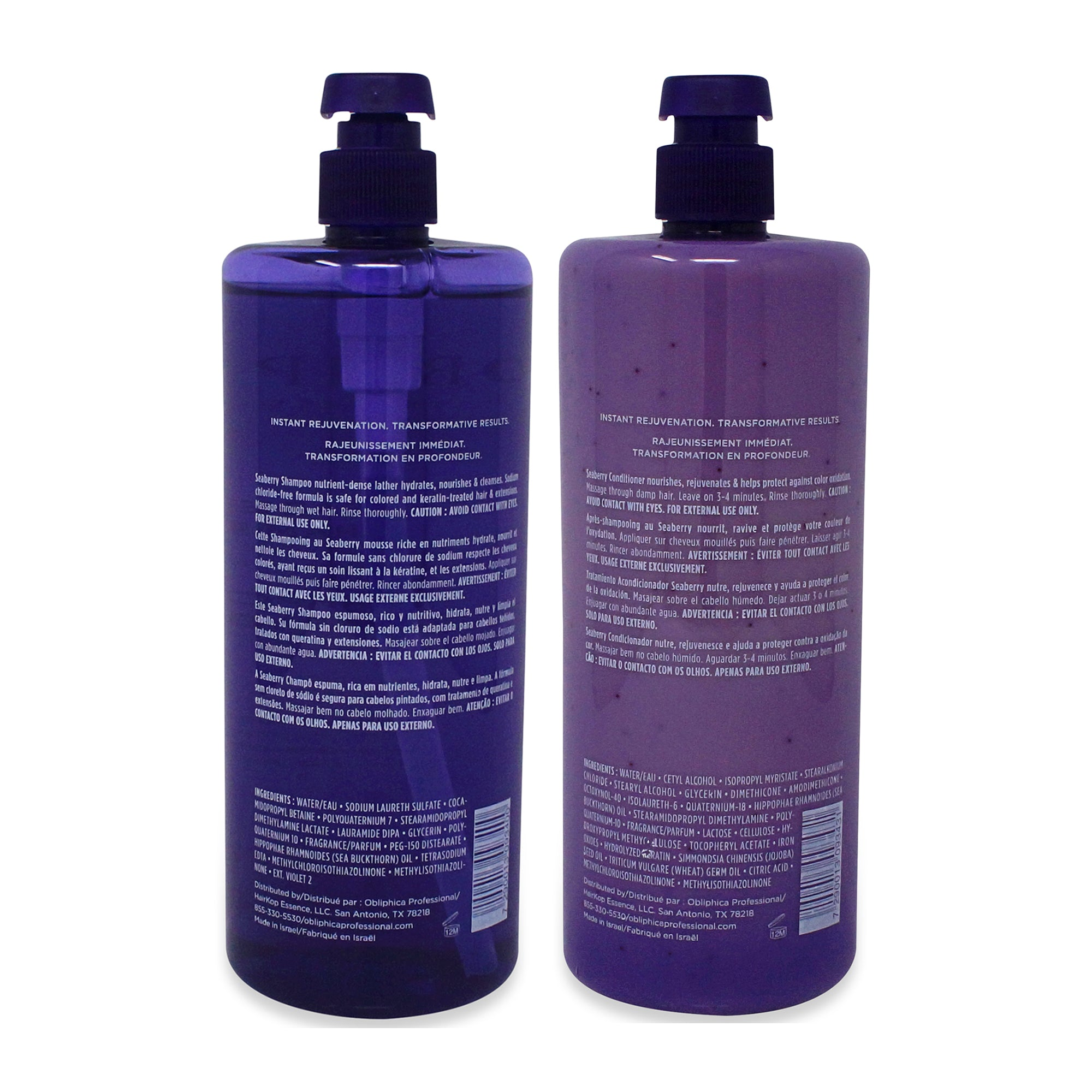 Obliphica Professional Seaberry Shampoo & Conditioner, Medium to Coarse 33.8 oz Combo Pack