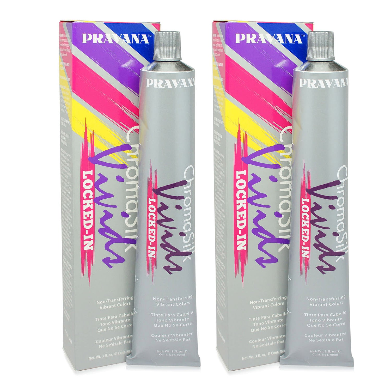 PRAVANA ~ CHROMA SILK VIVIDS HAIR COLOR LOCKED IN PURPLE 3 OZ ~ 2 PACK