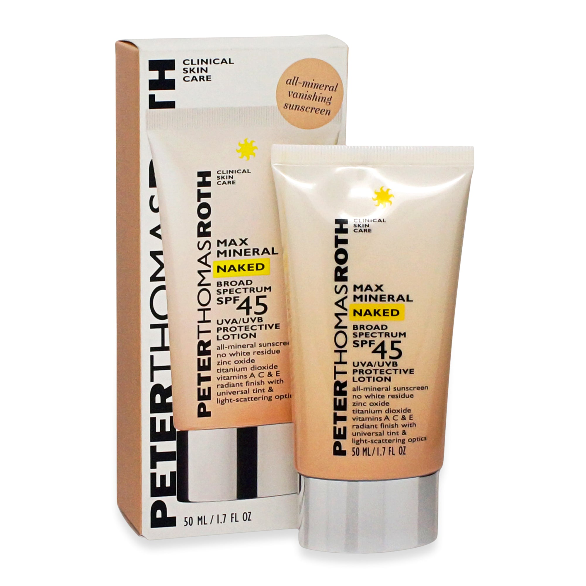 PETER THOMAS ROTH ~ MAX MINERAL NAKED SPF45 LOTION ~ 1.7OZ