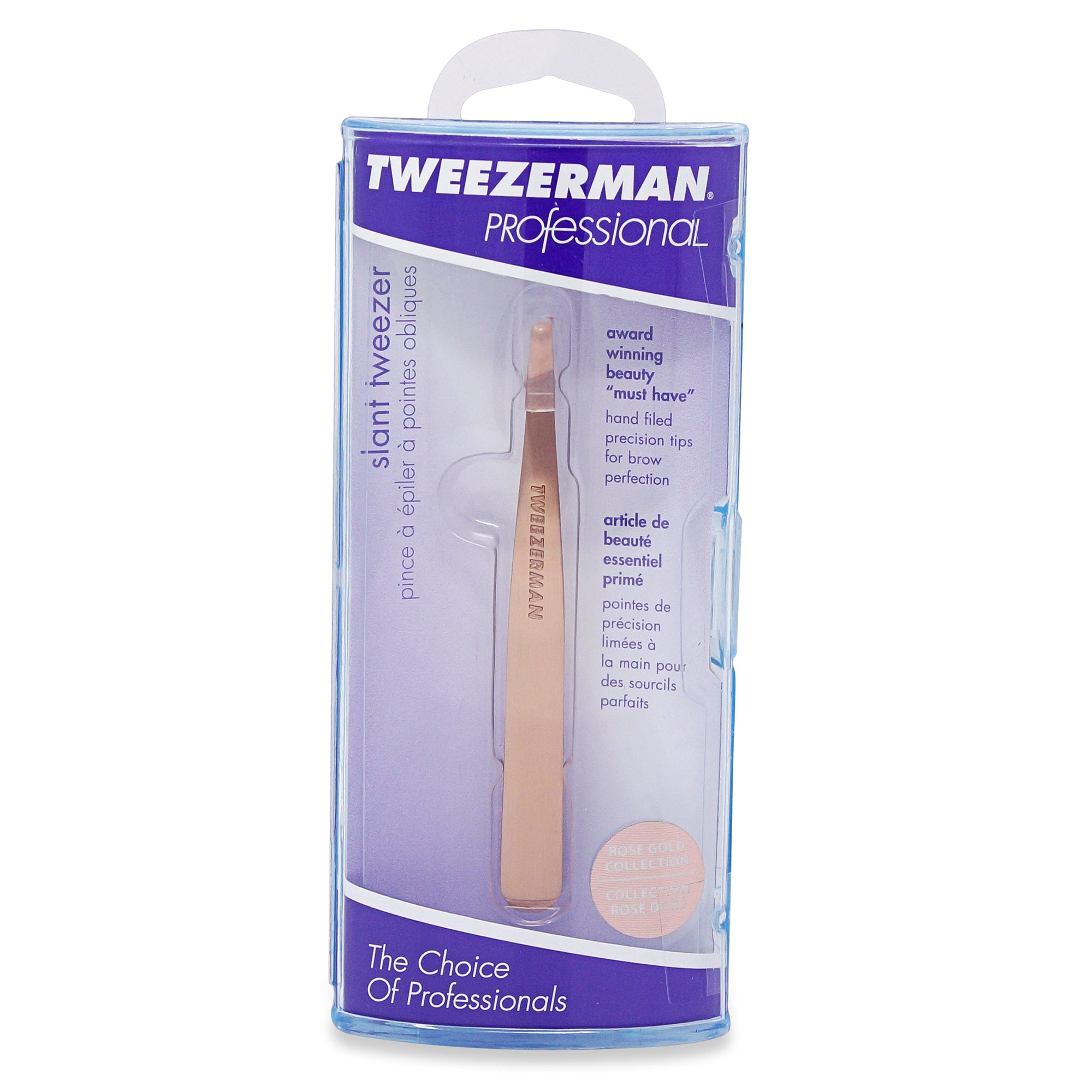TWEEZERMAN ~ SLANT TWEEZER ~ ROSE GOLD ~ PROFESSIONAL