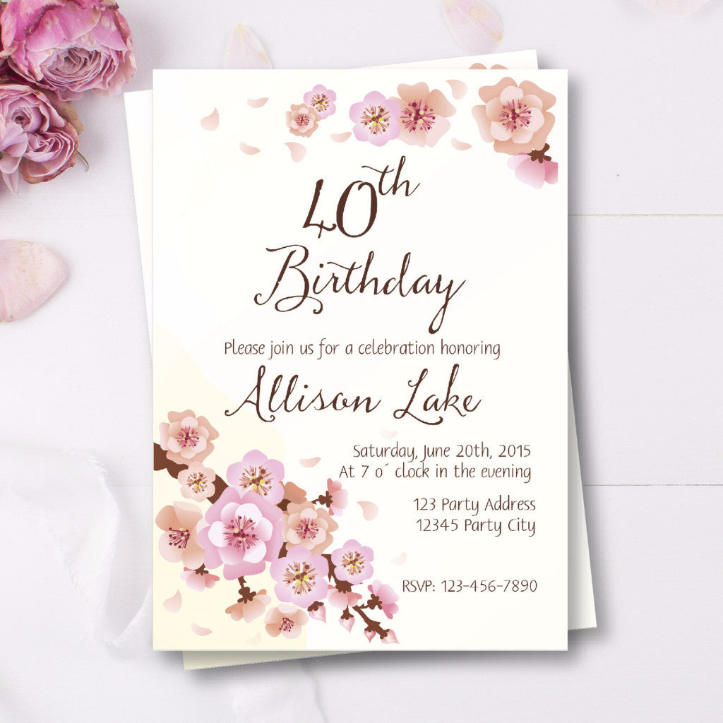 40th Birthday Invitation With Cherry Blossoms Bash Designs