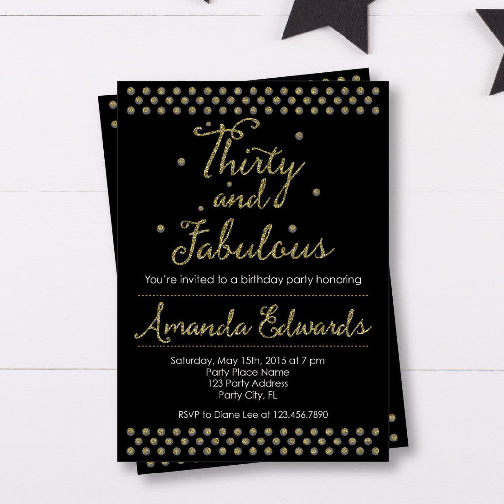 30th Birthday Invitation With Gold Glitter Letters Bash Designs