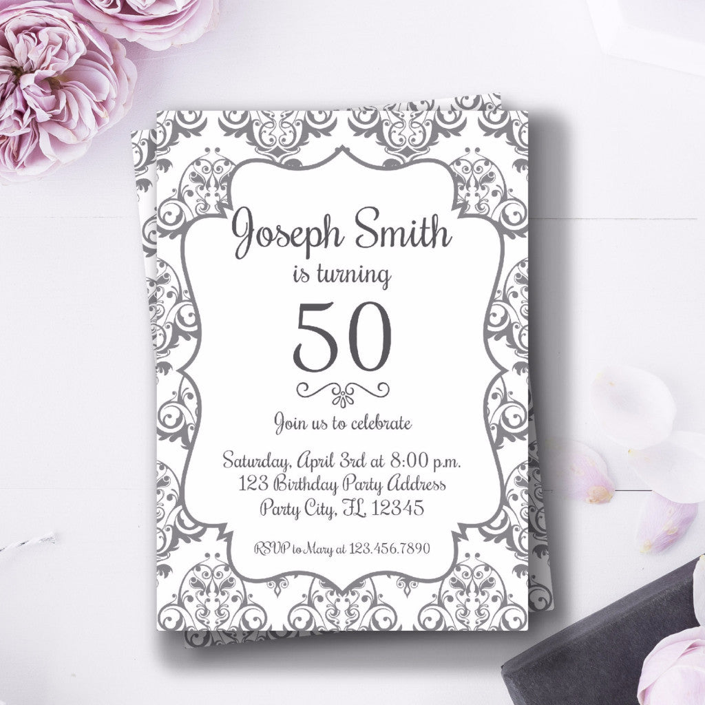 50 Year Old Elegant Birthday Invitation Bash Designs