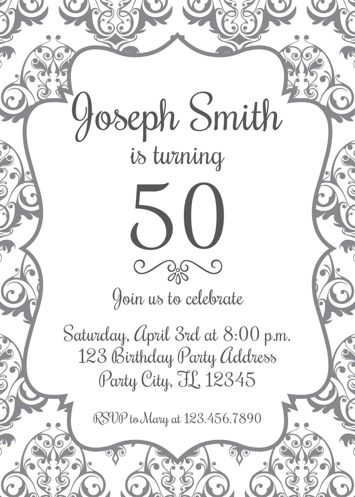 50 Year Old Elegant Birthday Invitation