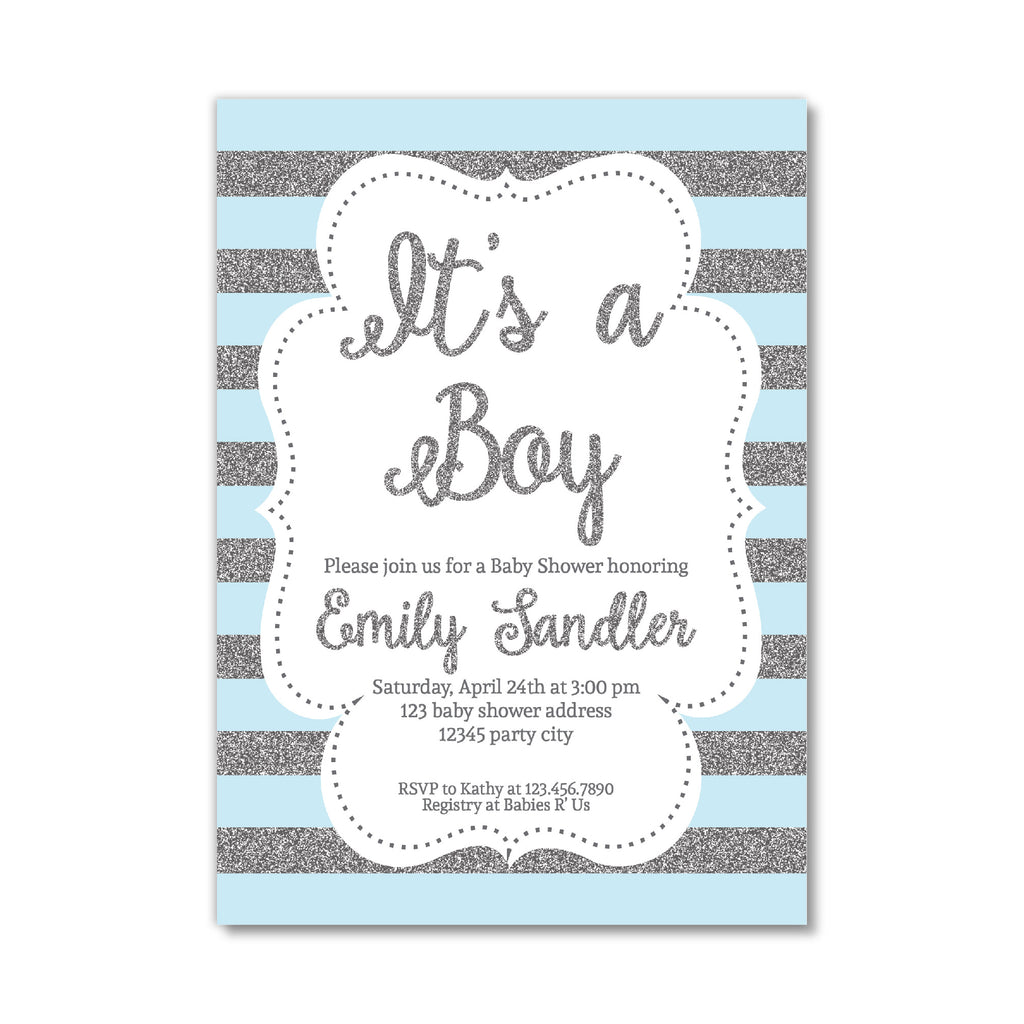 picture about Printable Baby Boy Shower Invitations named Blue and Silver Boy or girl Boy Shower Invitation