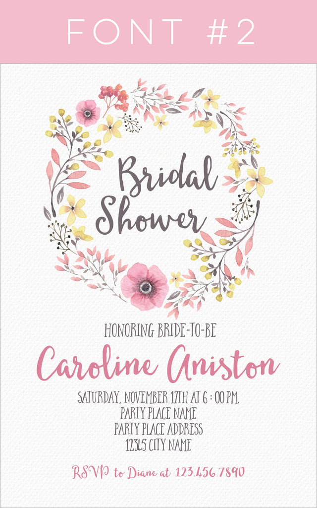 bridal shower floral wreath invitation