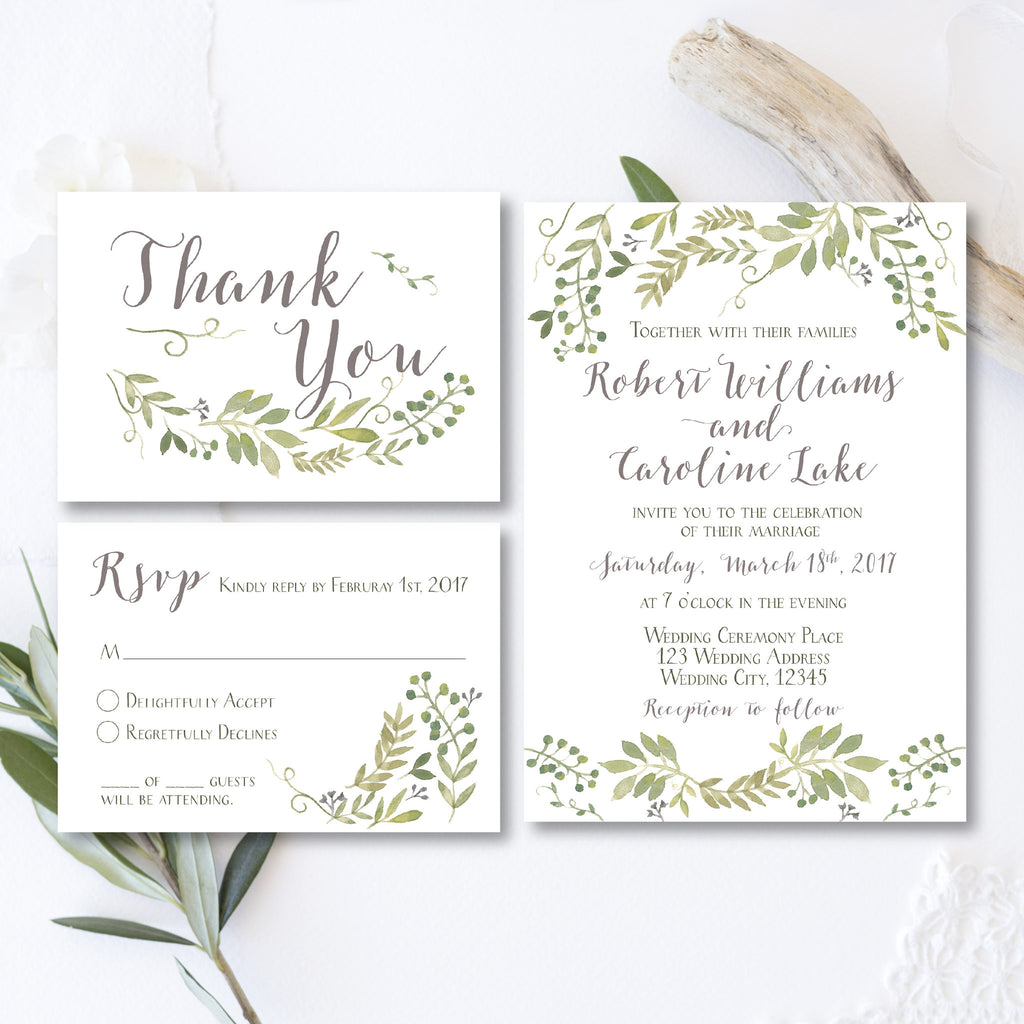 Rain Of Leaves Wedding Collection Invitation Thank You Card And