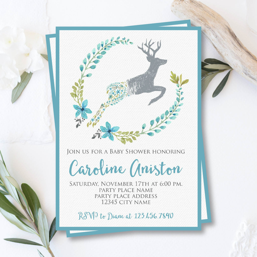 Blue Deer Baby Boy Shower Invitation with Floral Wreath – Bash Designs