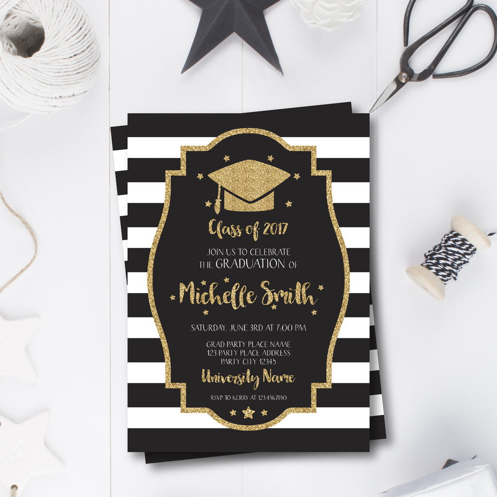 Gold, Black and White Graduation Invitation with a Graduation Cap ...