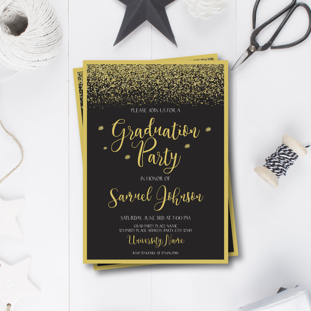 Gold And Black Elegant Graduation Invitation