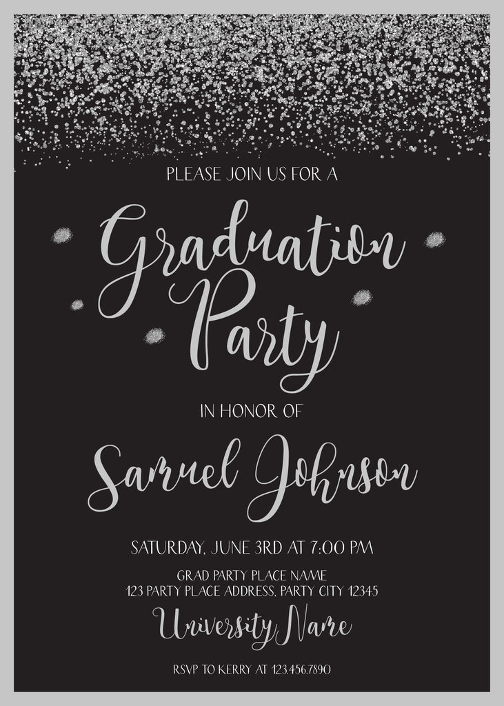 Silver And Black Elegant Graduation Invitation