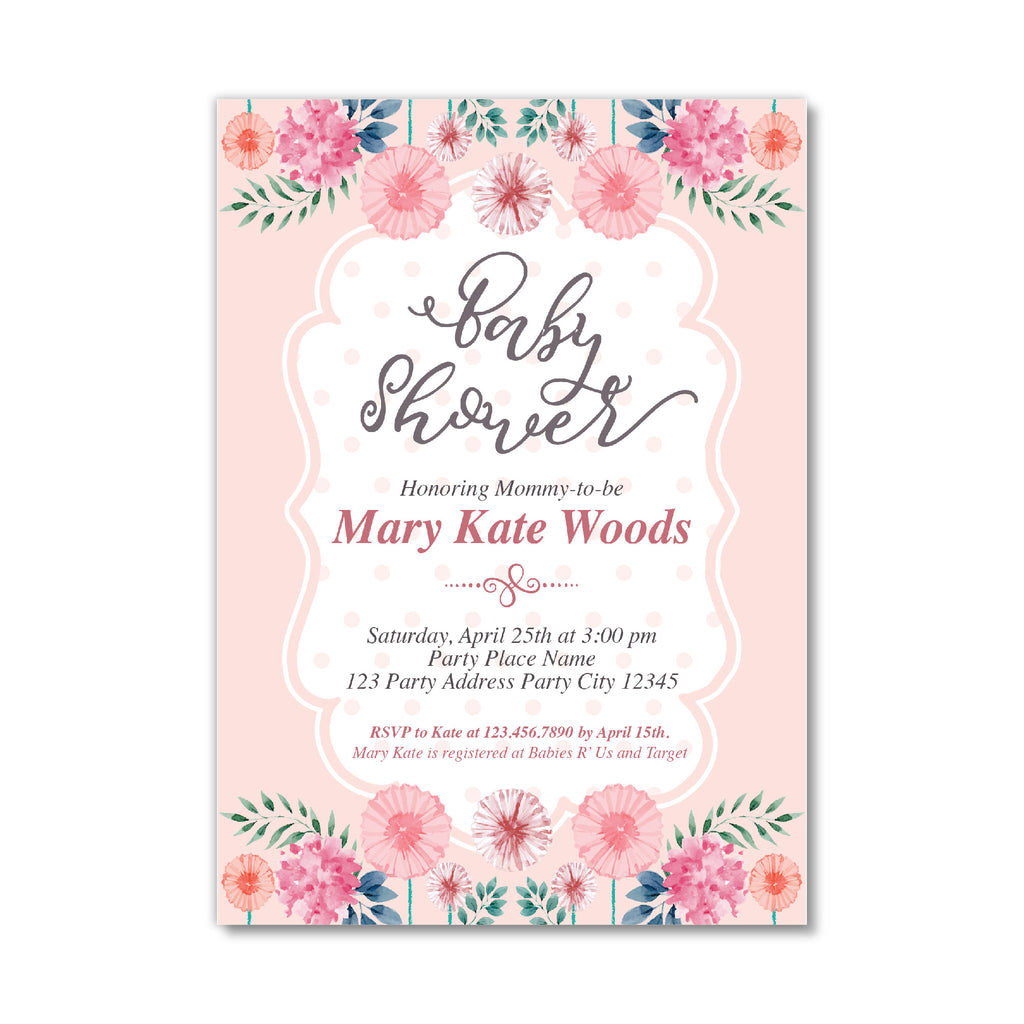 Baby Shower Invitation With Nice Florals And Delicate Font