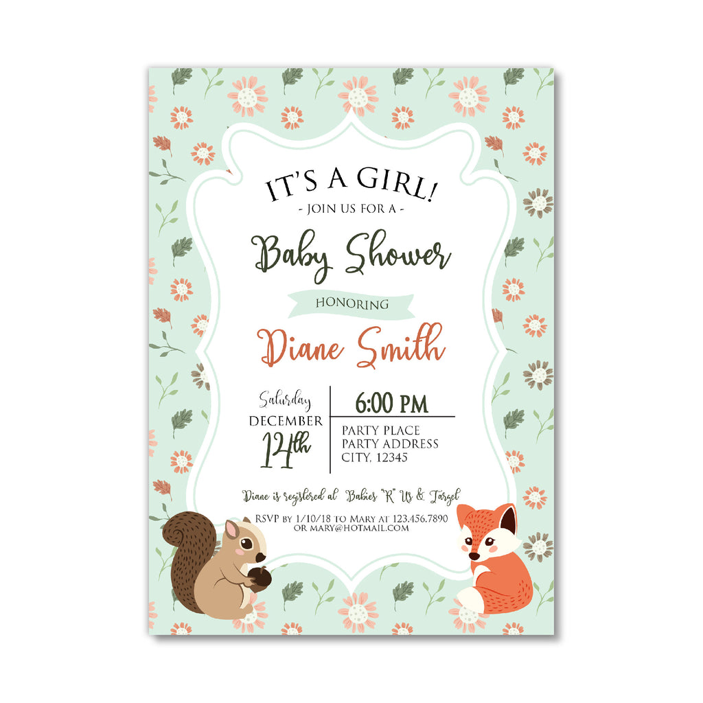 Baby Shower Invitation With Woodland Animal Bash Designs