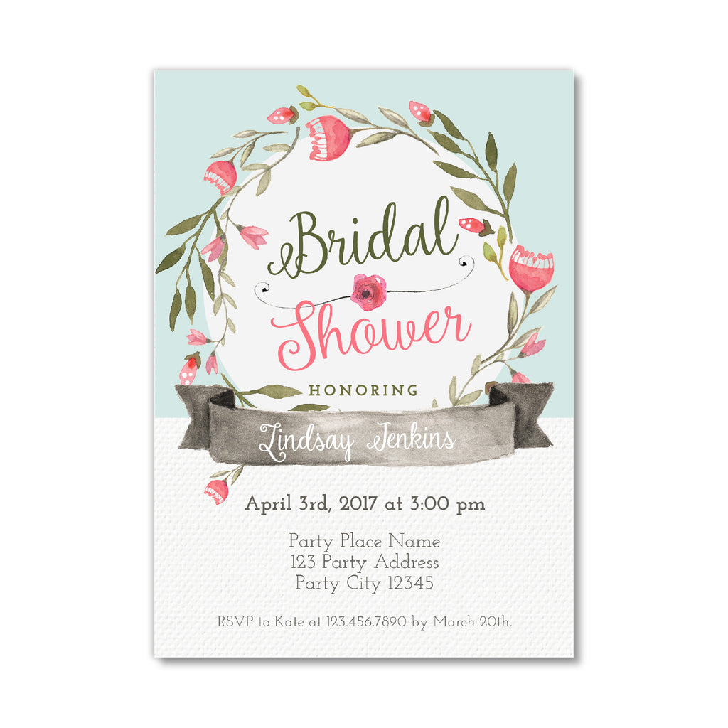 Bridal Shower Invitation with Pink Flowers – Bash Designs