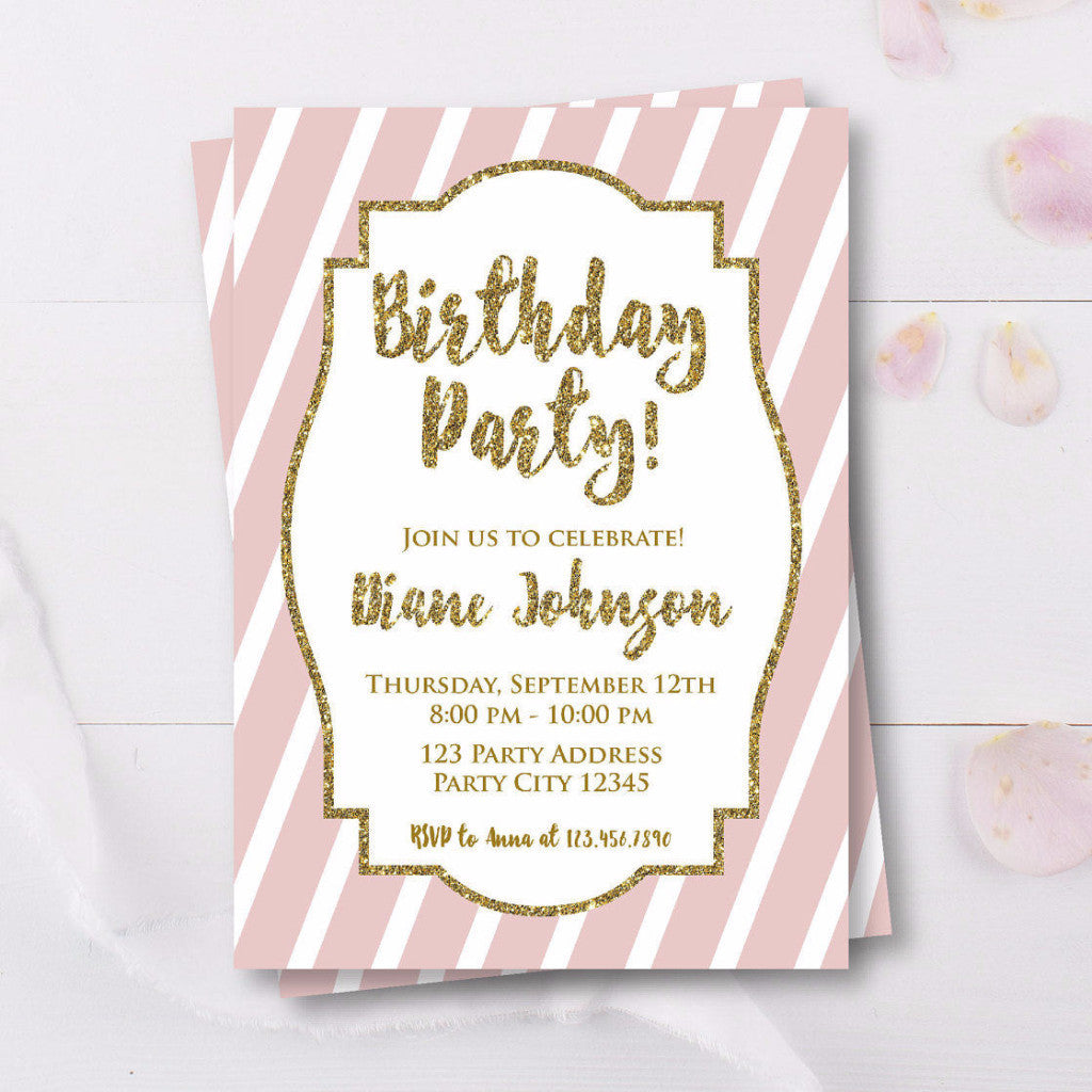 Pink And Gold Glitter Adult Birthday Invitation
