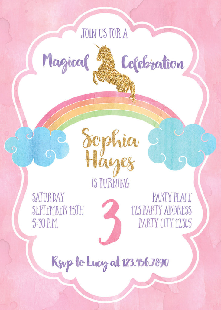 Magical Unicorn on Top of a Rainbow Party Invitation Bash Designs