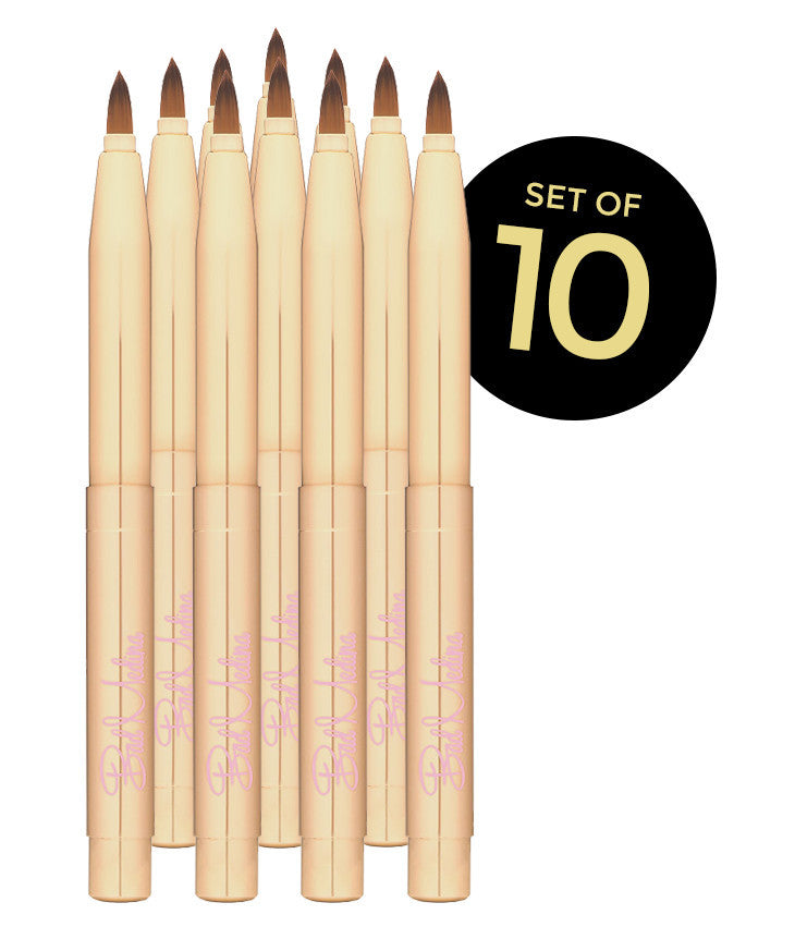 Ten Pack Set Of Retractable Lip Brushes