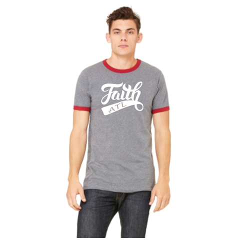 Men's FAITH ATL Ringer Tee - Deep Heather/Cardinal