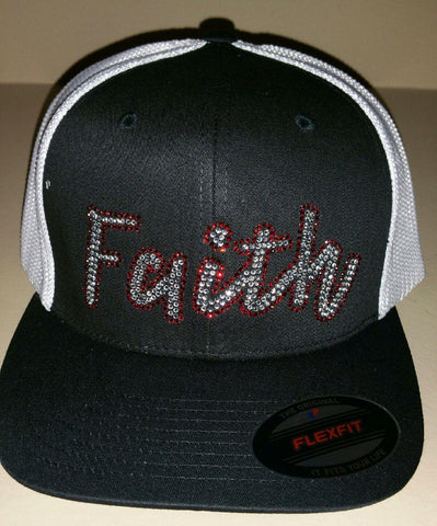 Ladies Bling Faith Flex Fit Trucker Hat - Black