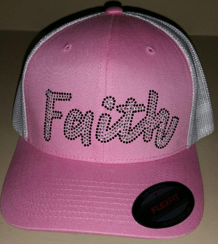 Ladies Bling Faith Flex Fit Trucker Hat - Pink