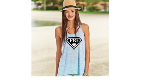 FBF Ladies Flowy Racerback Tank with Signature Shield - Marble Blue