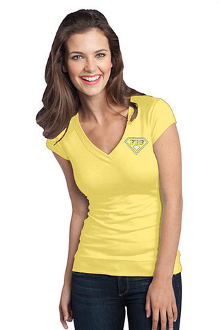 FBF Ladies V-Neck with Shield Logo Left Chest - Banana Cream